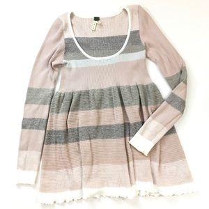 We the Free Striped Ribbed Babydoll Tunic Sweater
